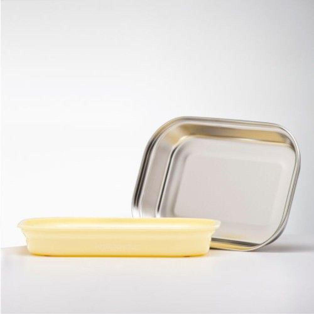 美國 Kangovou - 不鏽鋼安全兒童餐具-平板餐盤-檸檬黃 (26*19*5(長*寬*高))