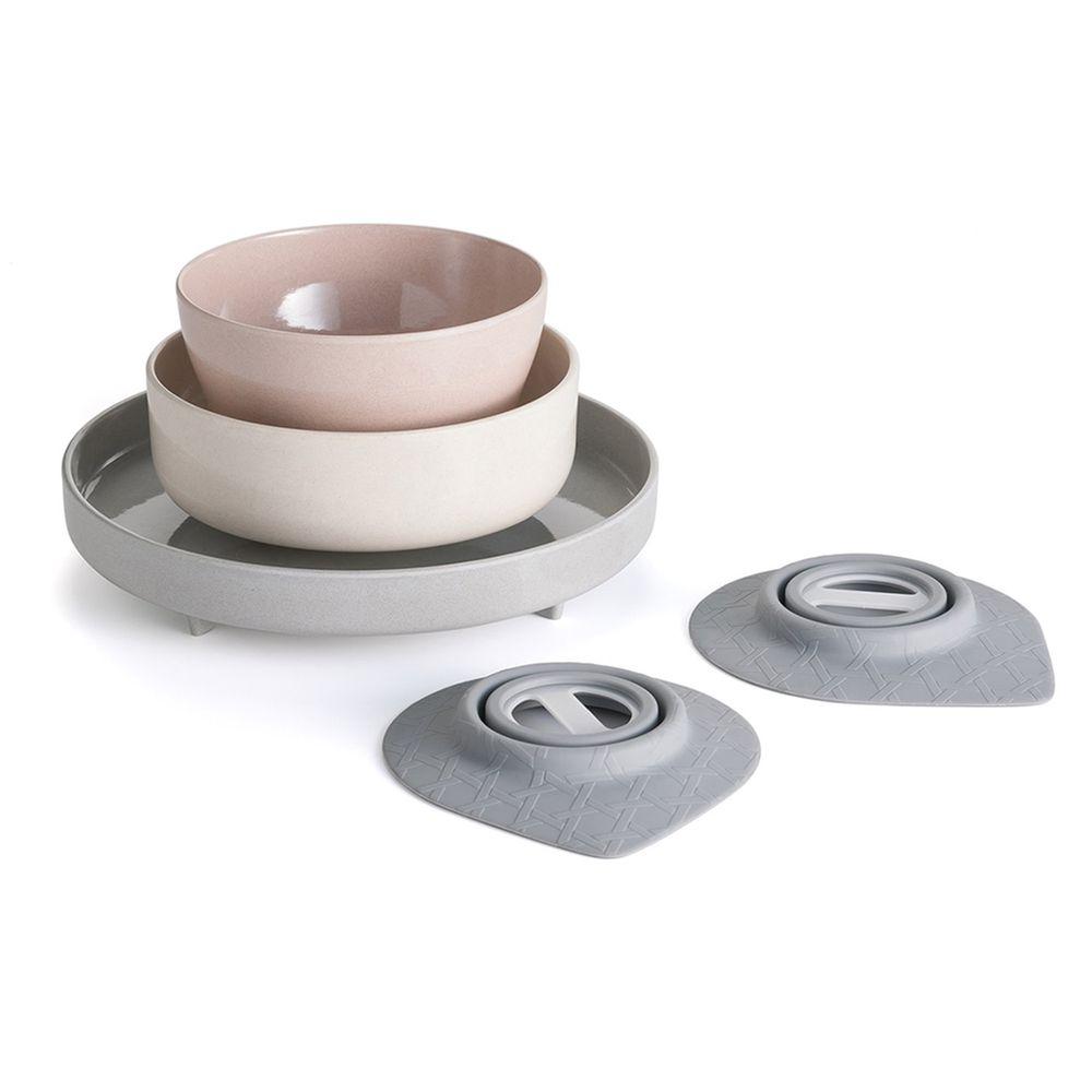 美國Miniware - 微兒天然寶貝用品系列-小小食神五入組-街頭紐約客-竹纖維麥片碗*1 竹纖維點心碗*1 竹纖維麵包盤*1 防滑吸盤*2