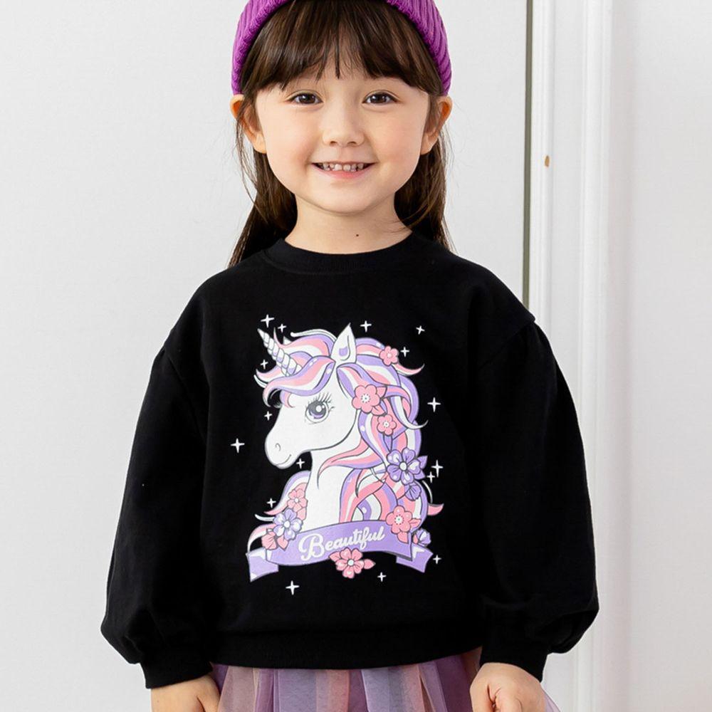 韓國 ERU - 童話獨角獸泡泡袖T-黑