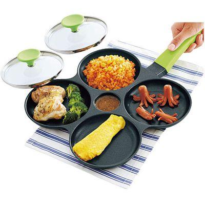 鋁合金四格煎鍋(附鍋蓋*2)-綠色-內徑13cm*4格