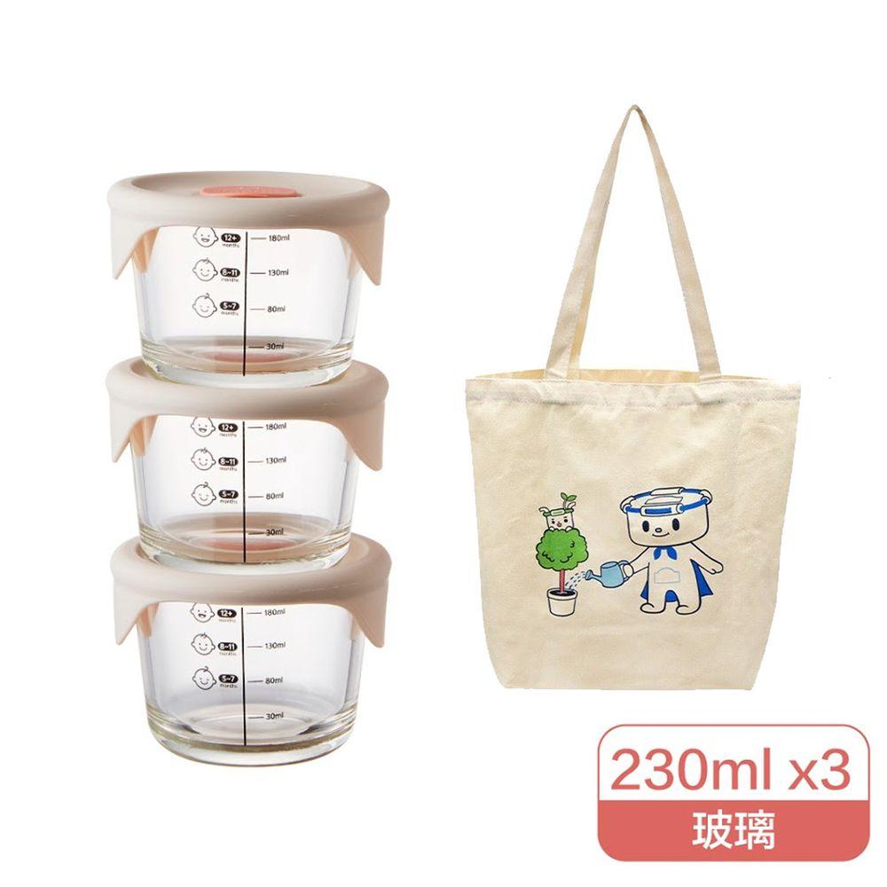 樂扣樂扣 - 寶寶副食品耐熱玻璃調理盒+贈樂扣質感環保帆布袋-圓形-粉灰 (230ml)-三入組