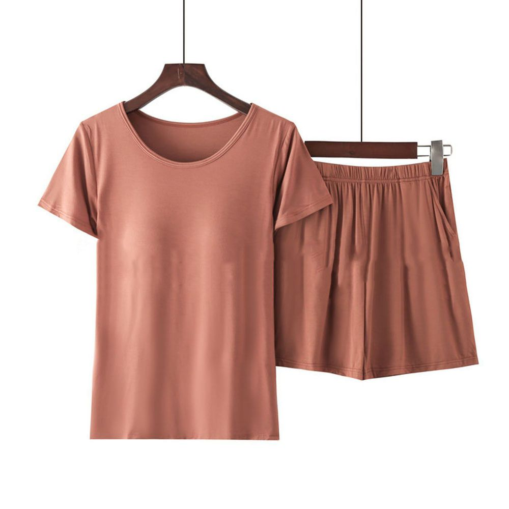 莫代爾柔軟涼感Bra T家居服-短褲套裝-焦糖色
