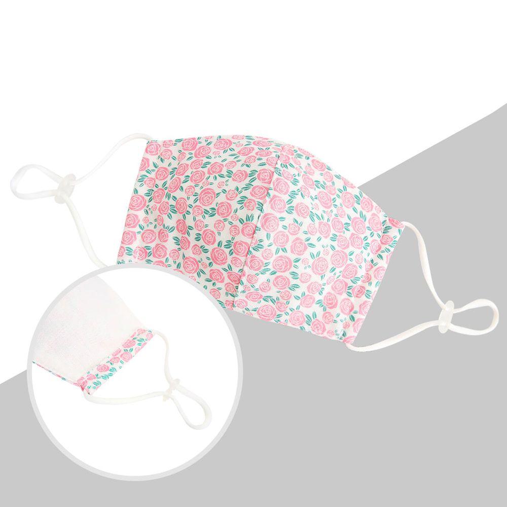 韓國 Coney Island - 純棉+2層棉紗兒童布口罩-粉紅玫瑰 (11*16cm)