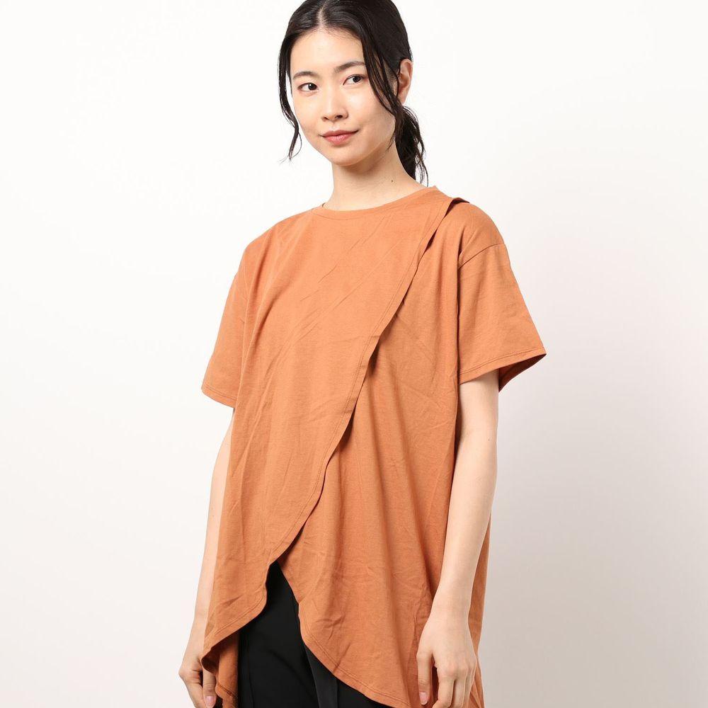 日本 Riche Glamour - 純棉 交叉設計短袖上衣-磚橘