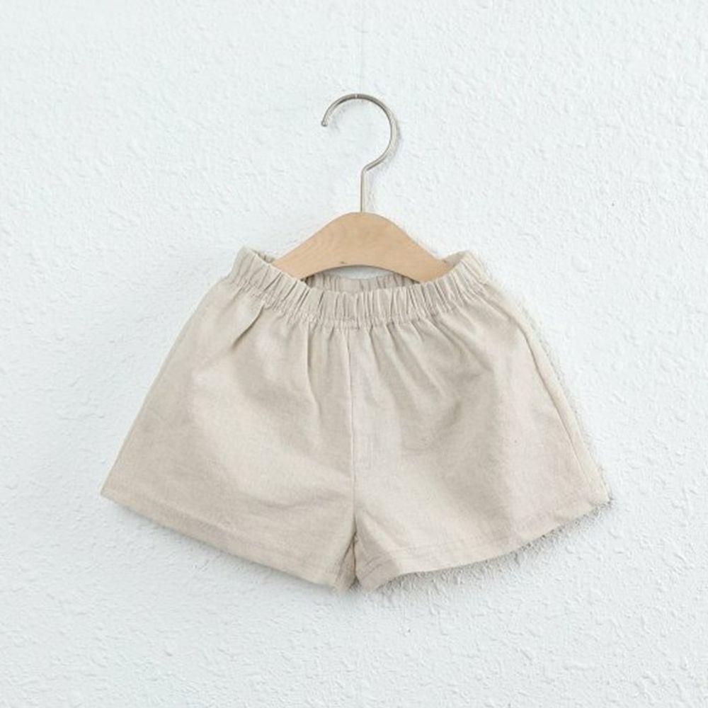 韓國製 - 棉麻小短褲-杏