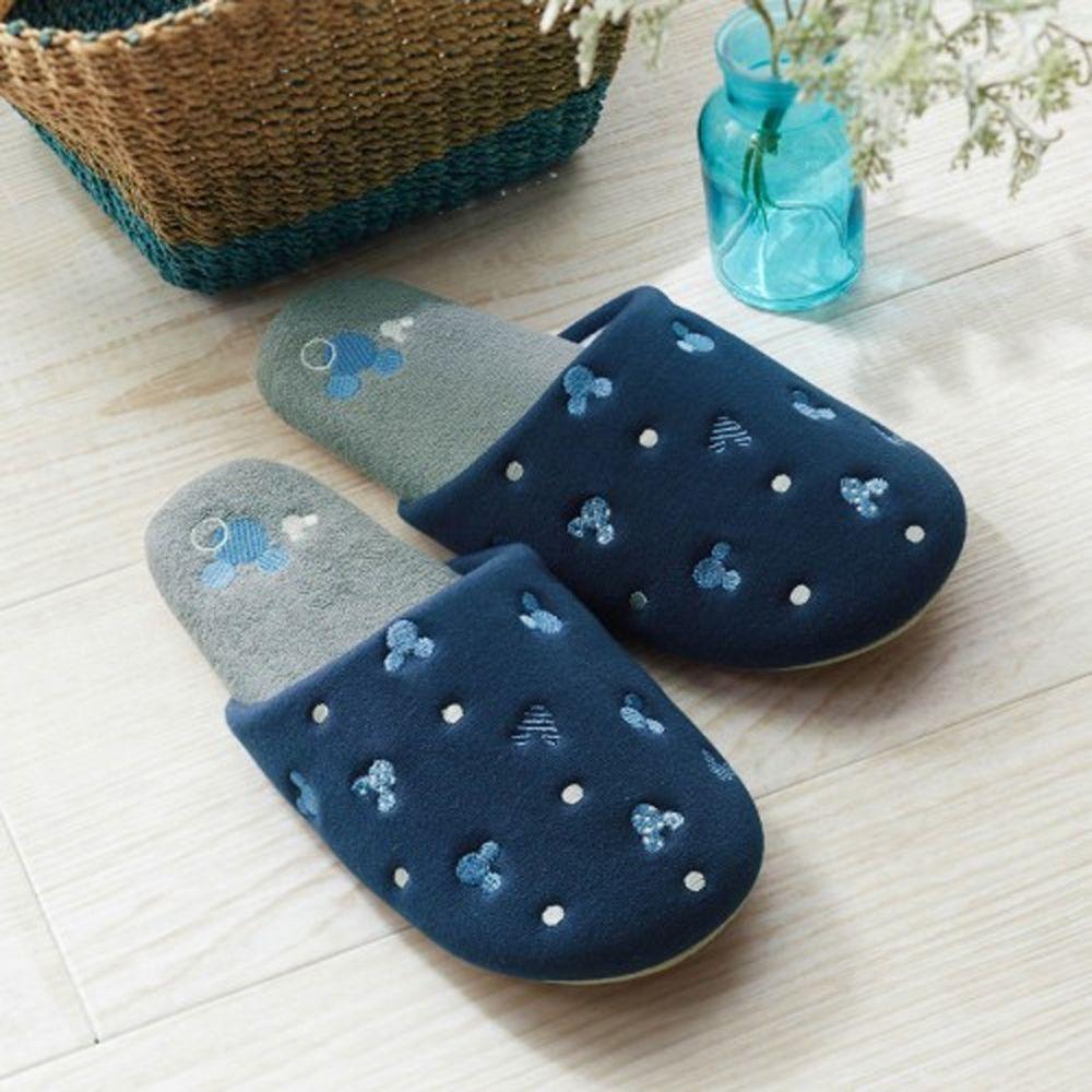日本千趣會 - 迪士尼室內拖鞋-米奇圖案點點-深藍