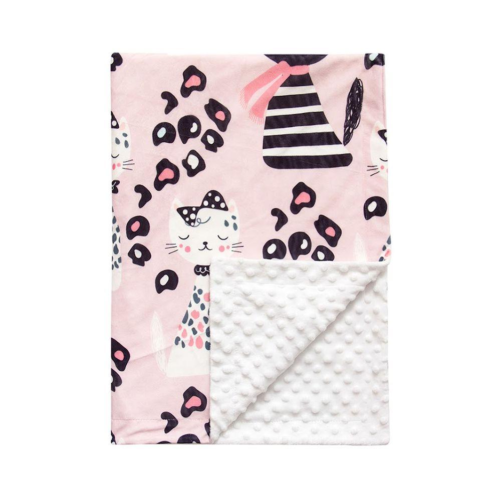 JoyNa - 雙層印花泡泡毯 嬰兒被被-粉豹紋貓 (76*84cm)