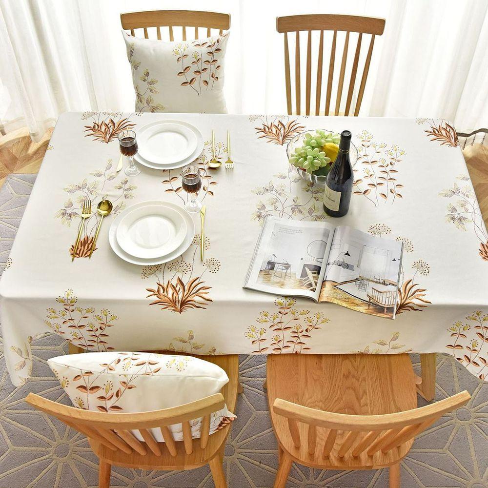 防水防髒桌布-植物樂園-咖啡色