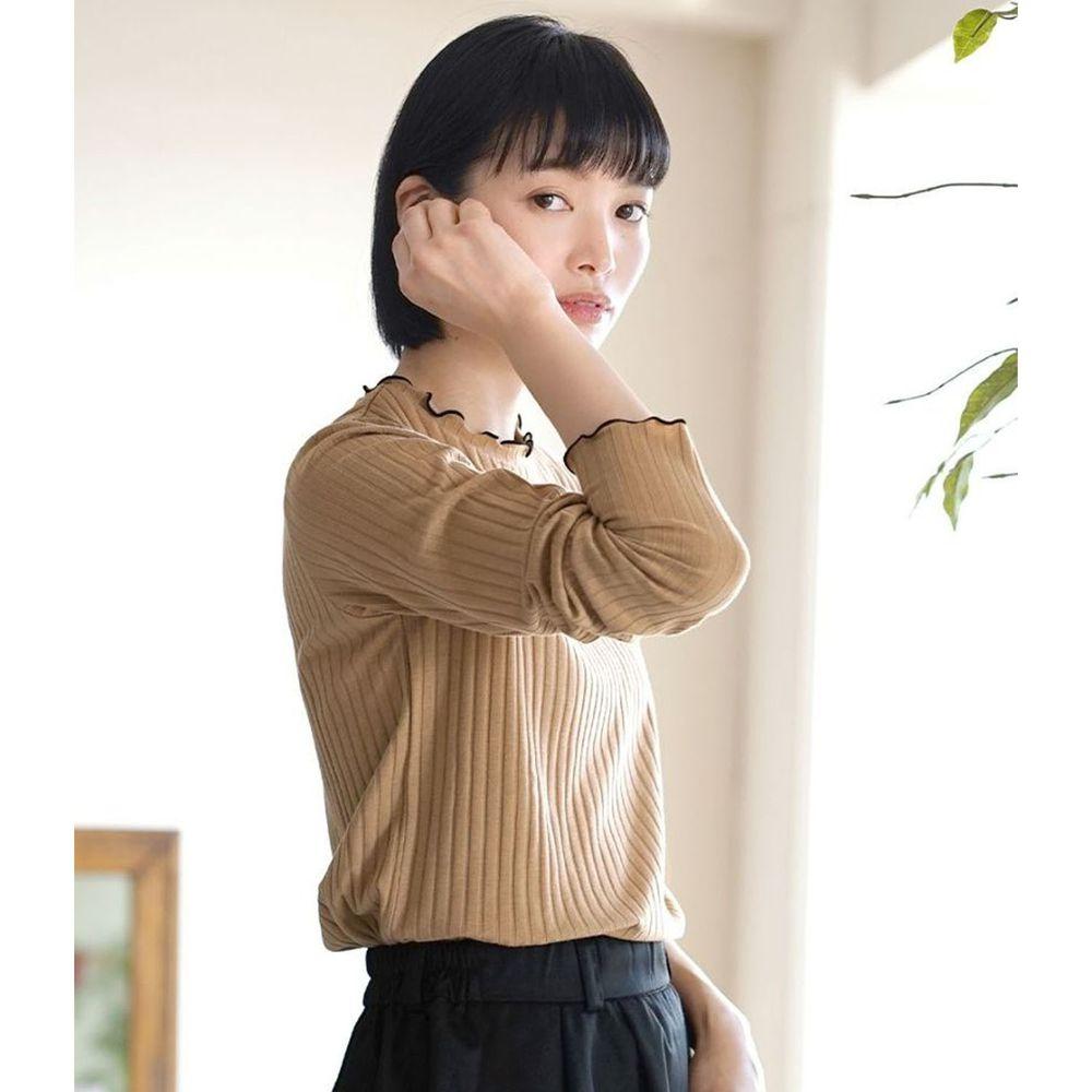 日本 zootie - 輕薄木耳邊粗羅紋貼身長袖上衣-杏