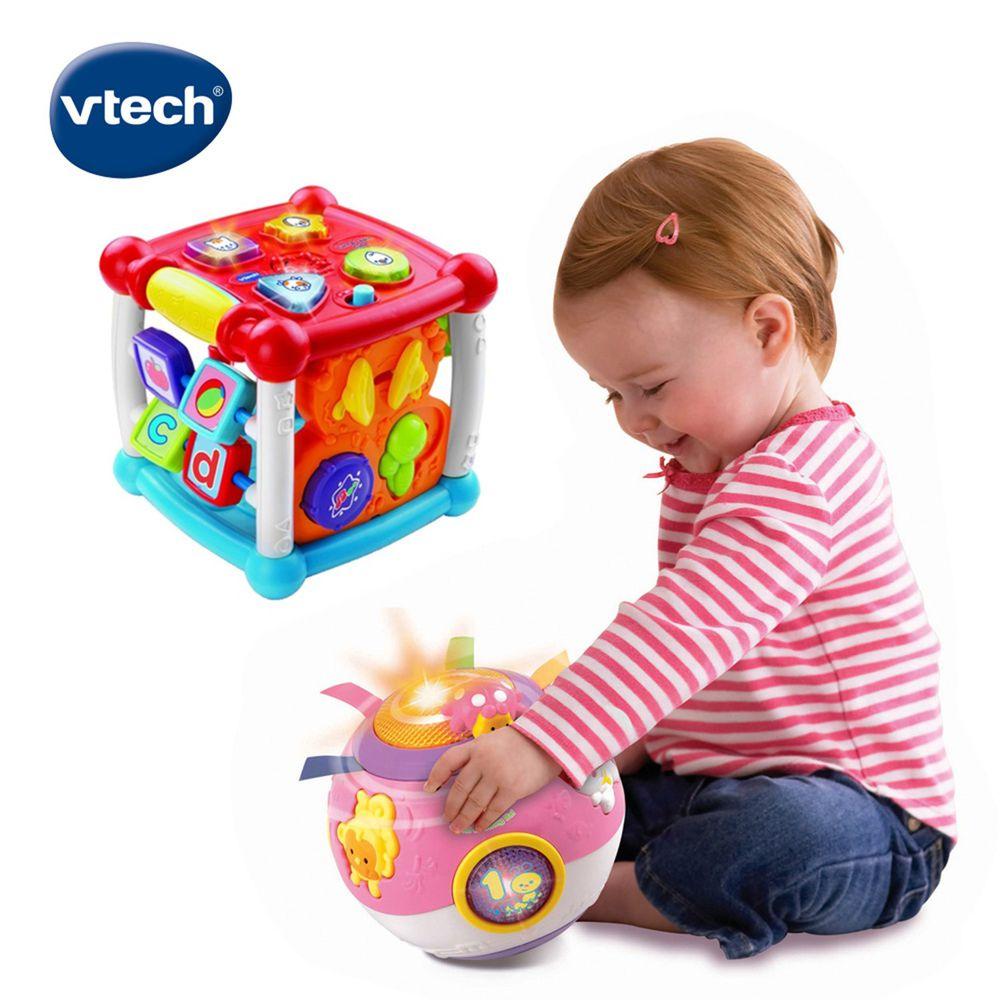 Vtech - 【超值1+1組】聲光互動學習盒+滾滾球粉色