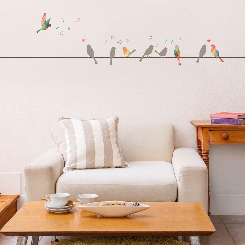 日本 TOKYO STICKER - 日本製 質感無邊框壁貼 [基本款]-電線上的繽紛鳥 (A4)