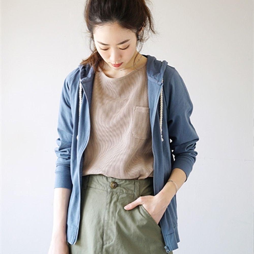 日本 zootie - 撥水X吸水速乾加工 抗透汗純棉防曬連帽外套-灰藍