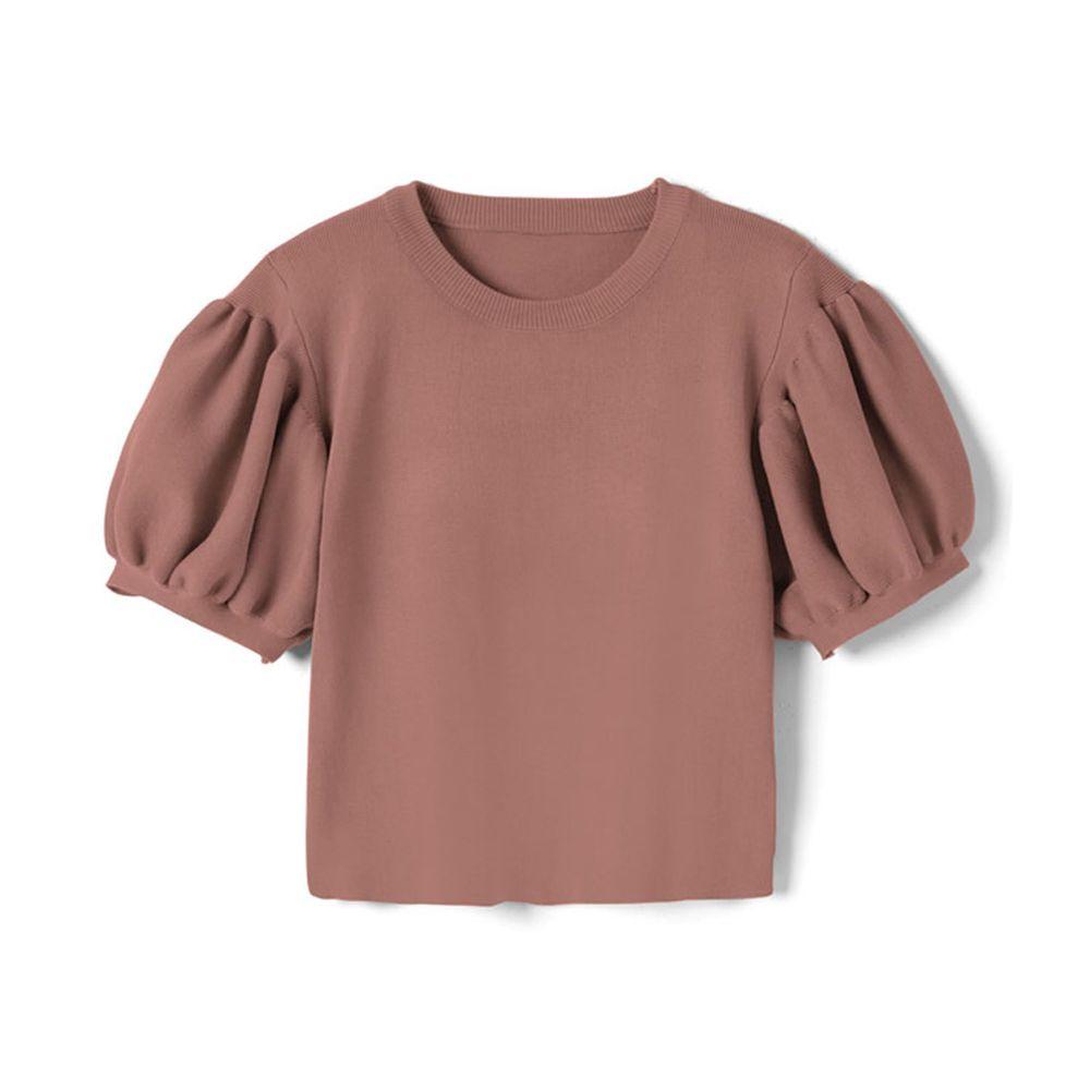 日本 GRL - 顯瘦澎澎袖針織圓領上衣-星塵粉 (M)