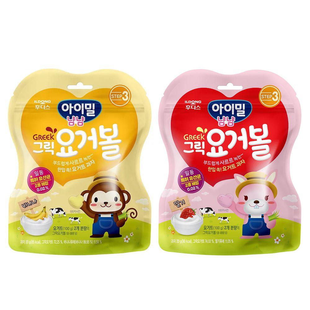 韓國Ildong Foodis日東 - 優格愛心餅2入組-香蕉*1+草莓*1
