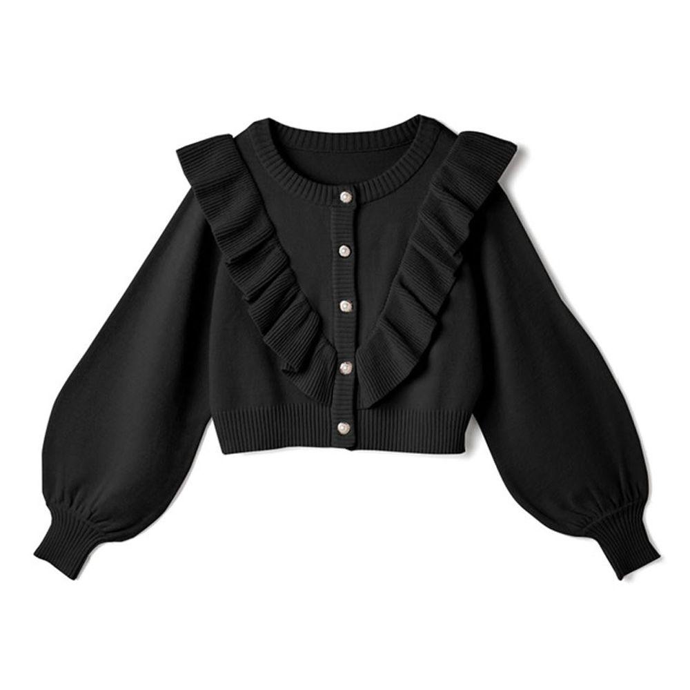 日本 GRL - 荷葉珍珠釦短版長袖針織上衣/外套-黑