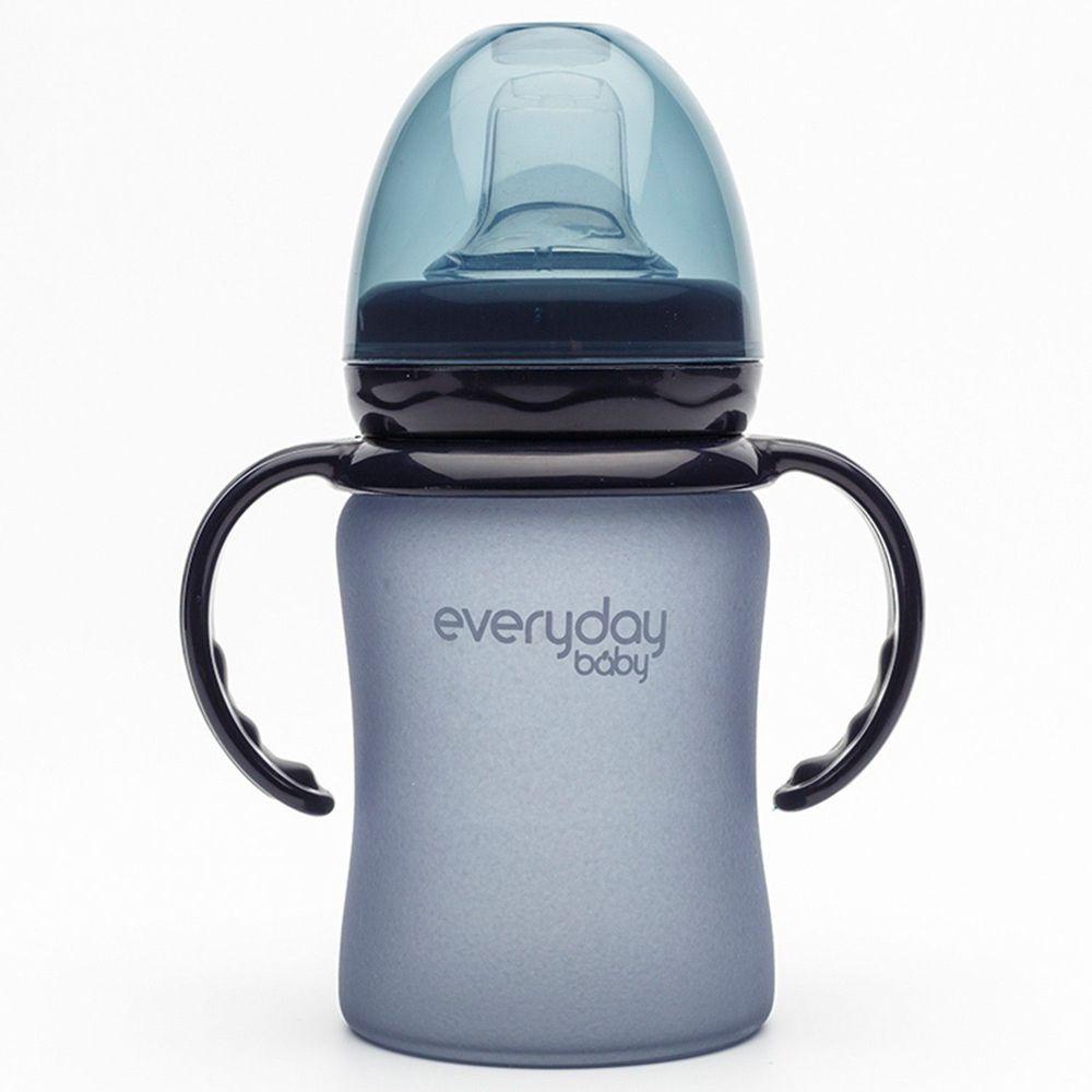瑞典 everyday baby - MilkHero 寬口徑防護感溫變色玻璃奶瓶-含可拆式握把-星空黑 (150ml)-202g