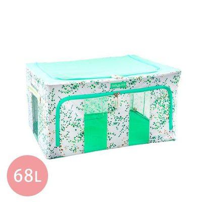 韓版無甲醛高質感雙視窗雙開收納箱68L-嫩彩綠x3
