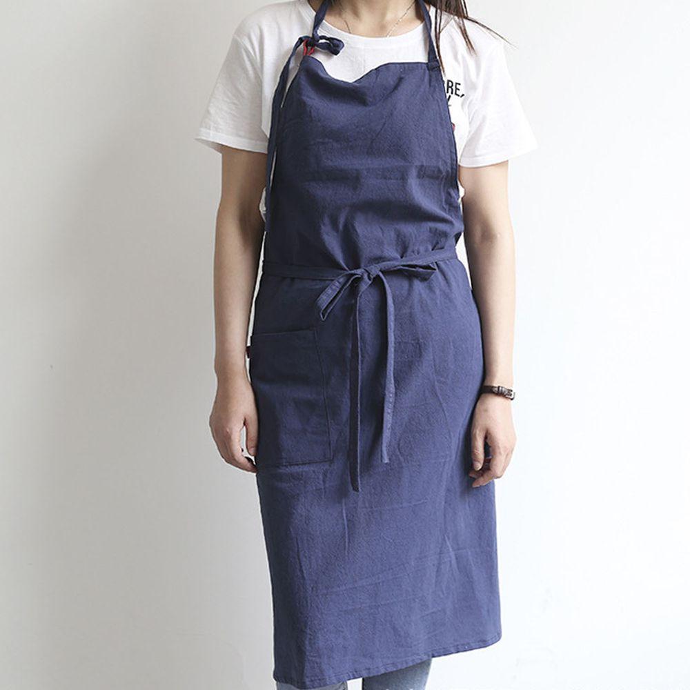 率性扣帶水洗棉麻圍裙-藏青色