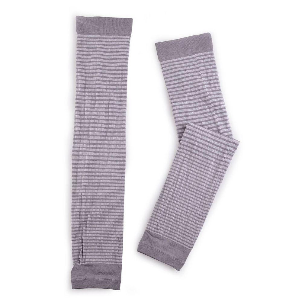 貝柔 Peilou - 兒童高效涼感防蚊抗UV袖套-親子條紋-灰