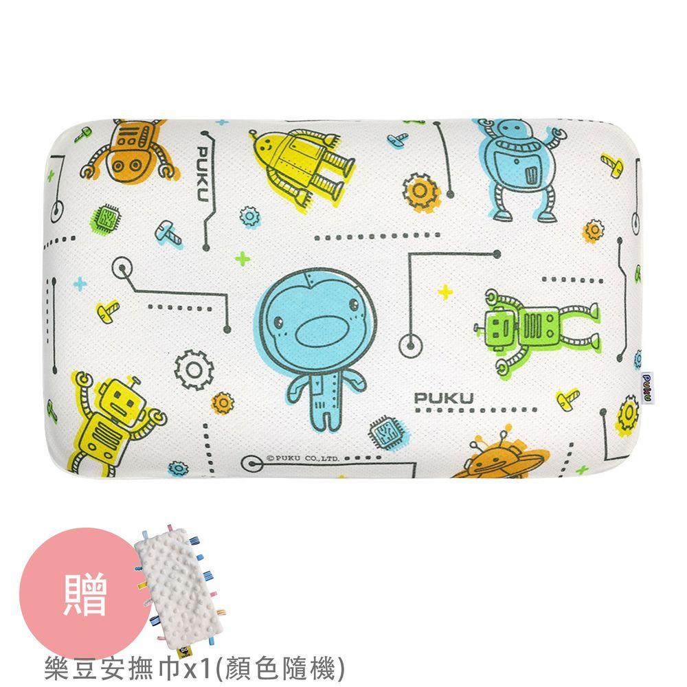 PUKU 藍色企鵝 - Air成長型3D幼童枕-機器人-買贈樂豆安撫巾*1(顏色隨機)