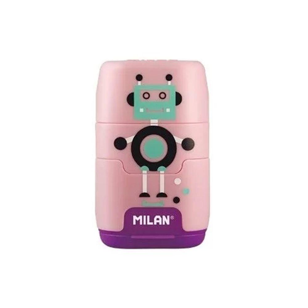 MILAN - COMPACT橡皮擦+削筆器_快樂機器人(粉)