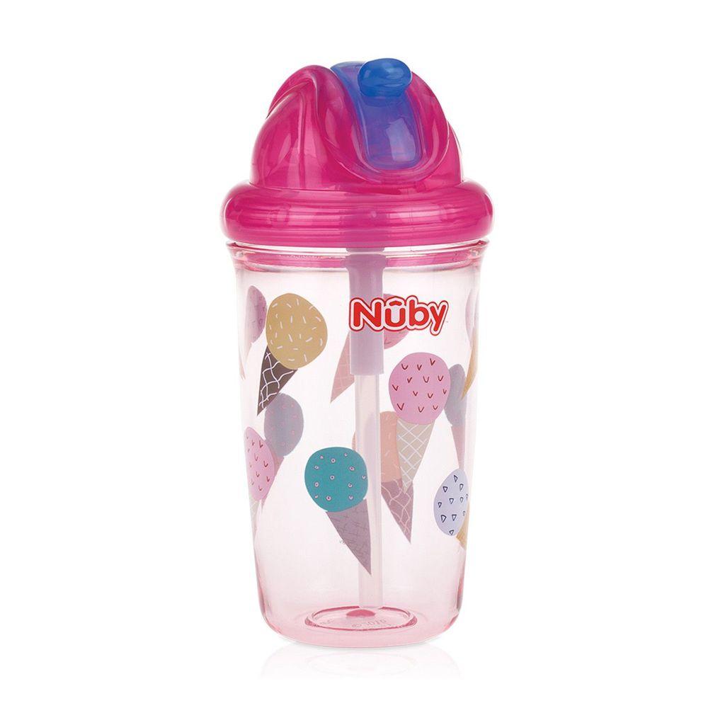 Nuby - 晶透杯系列 防漏學飲杯300ml (粗吸管)-甜筒-粉紅