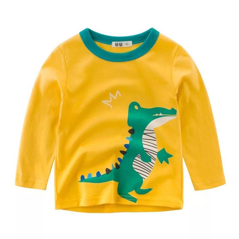 純棉長袖上衣-恐龍驚驚-黃色