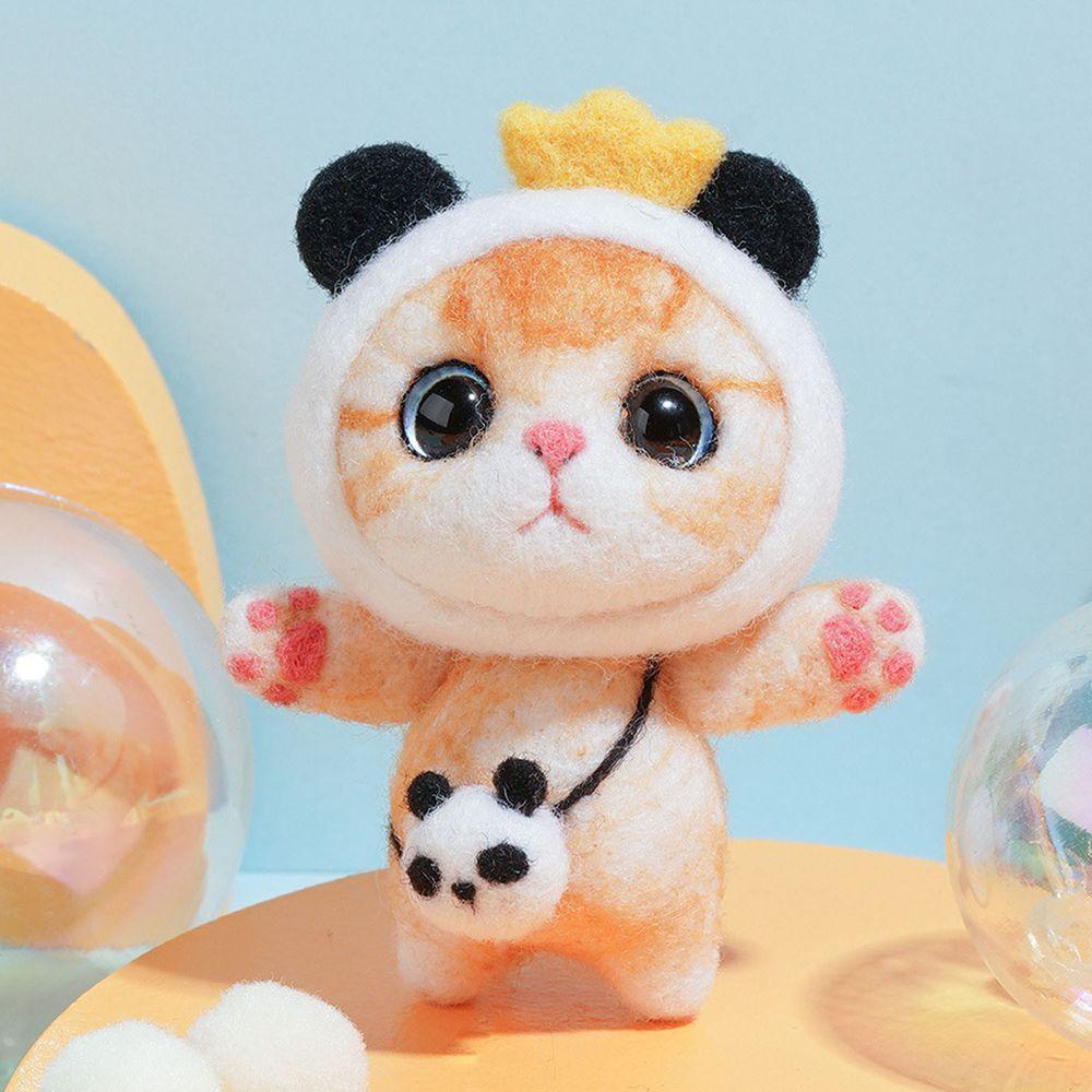 Diy療癒貓咪羊毛氈戳戳樂材料包-熊貓貓咪