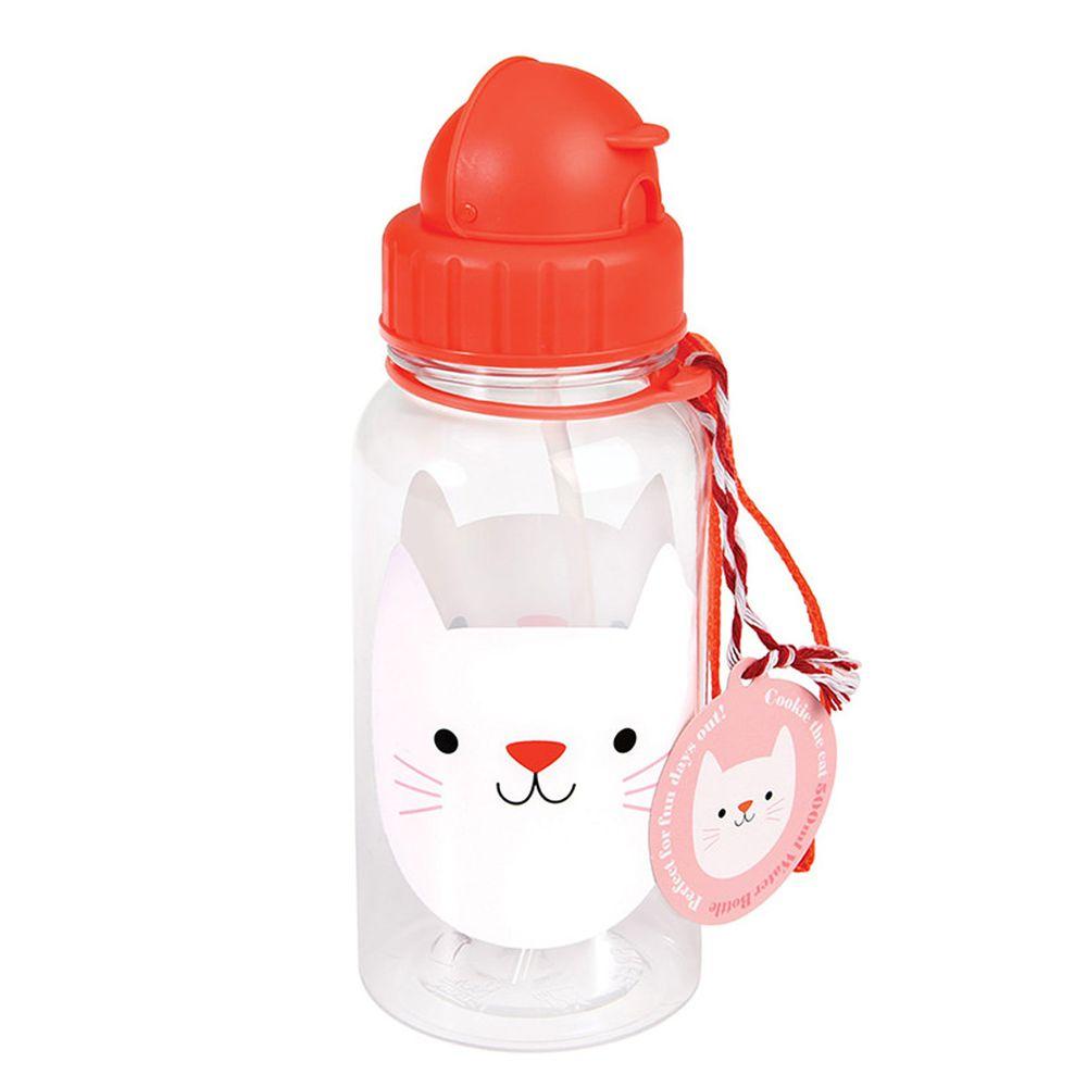 英國 Rex London - 兒童吸管水瓶-迷人貓咪(500ML)