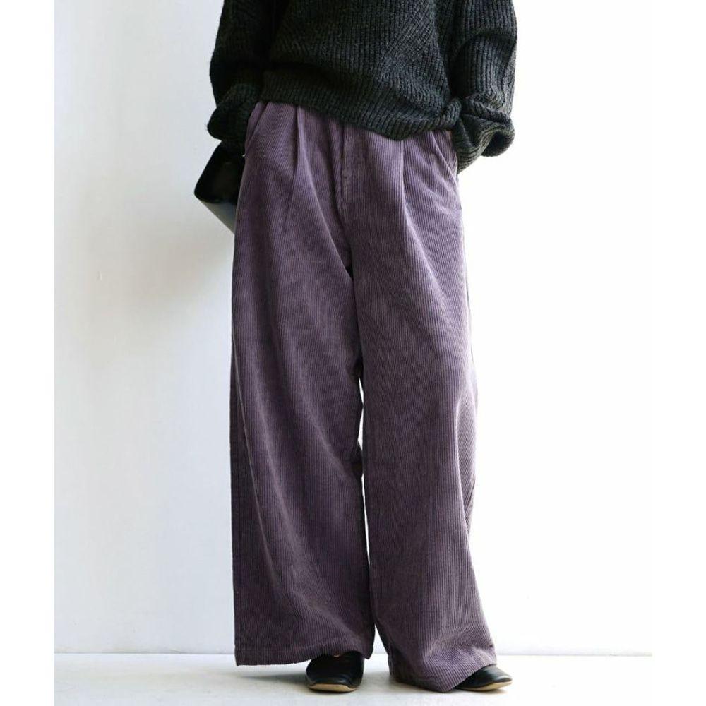 日本 zootie - 俐落帥氣燈芯絨寬褲-紫