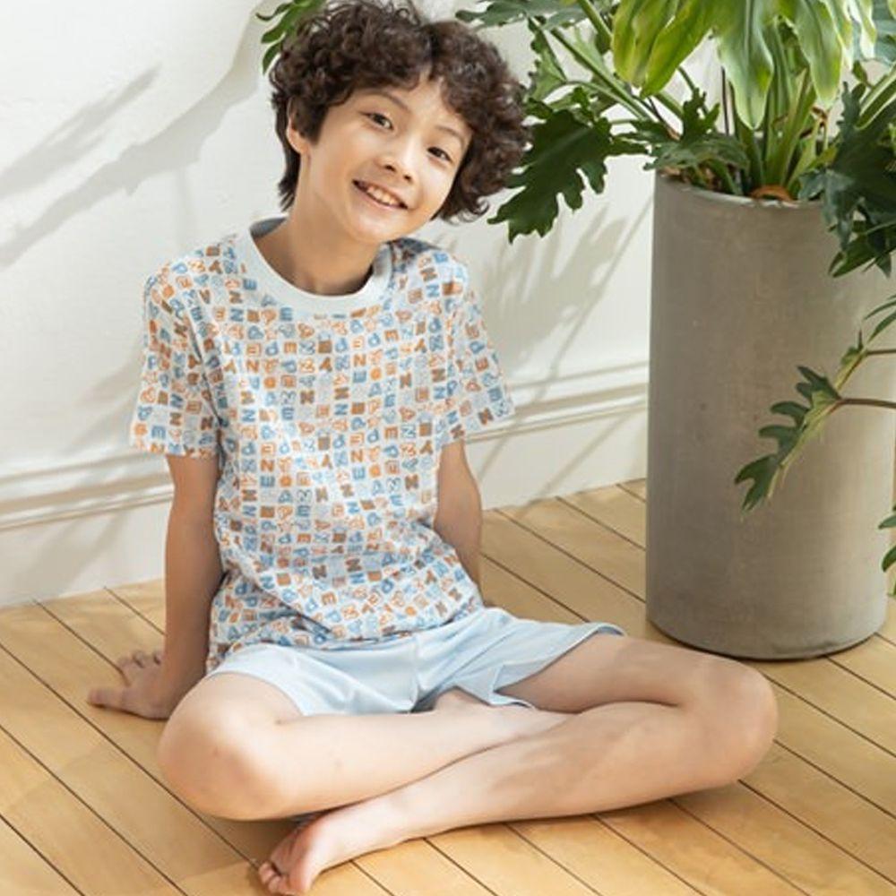 Annypepe - 男童英文字母短袖居家服-水藍 (110-150cm)