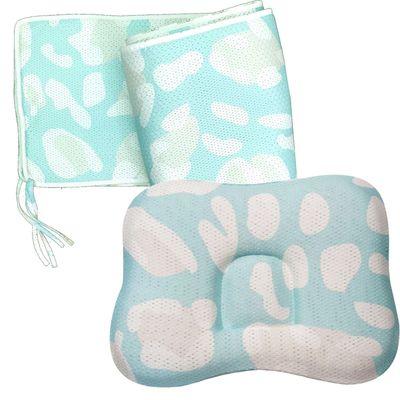 透氣嬰兒定型枕 0~18個月+透氣床圍-薄荷綠