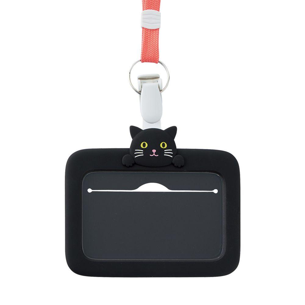日本文具 LIHIT - 2way掛夾兩用矽膠證件套-黑貓
