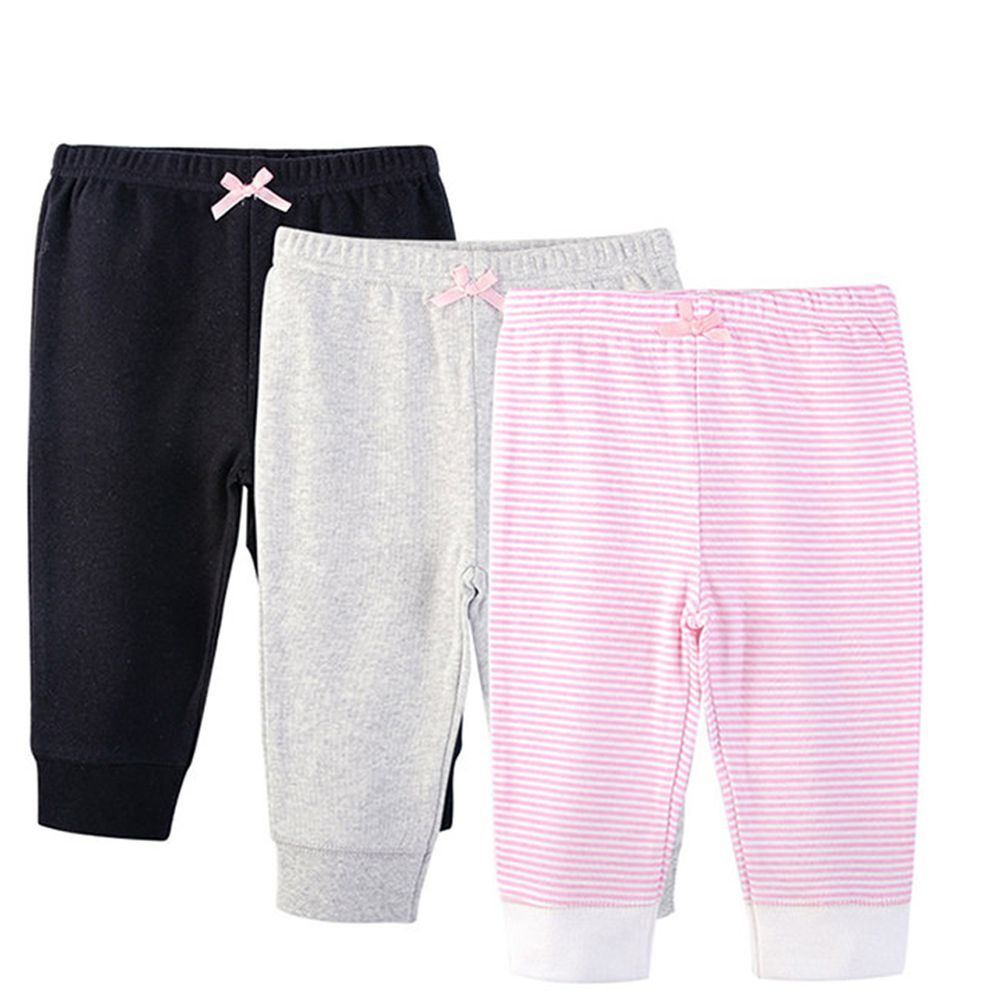 美國 Luvable Friends - 100%純棉嬰幼兒長褲3件組-黑灰粉