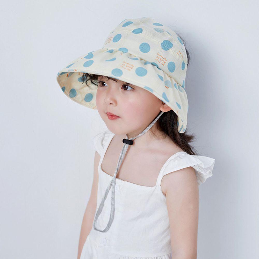 兒童薄款空頂遮陽帽-淺藍點點 (49-51cm)