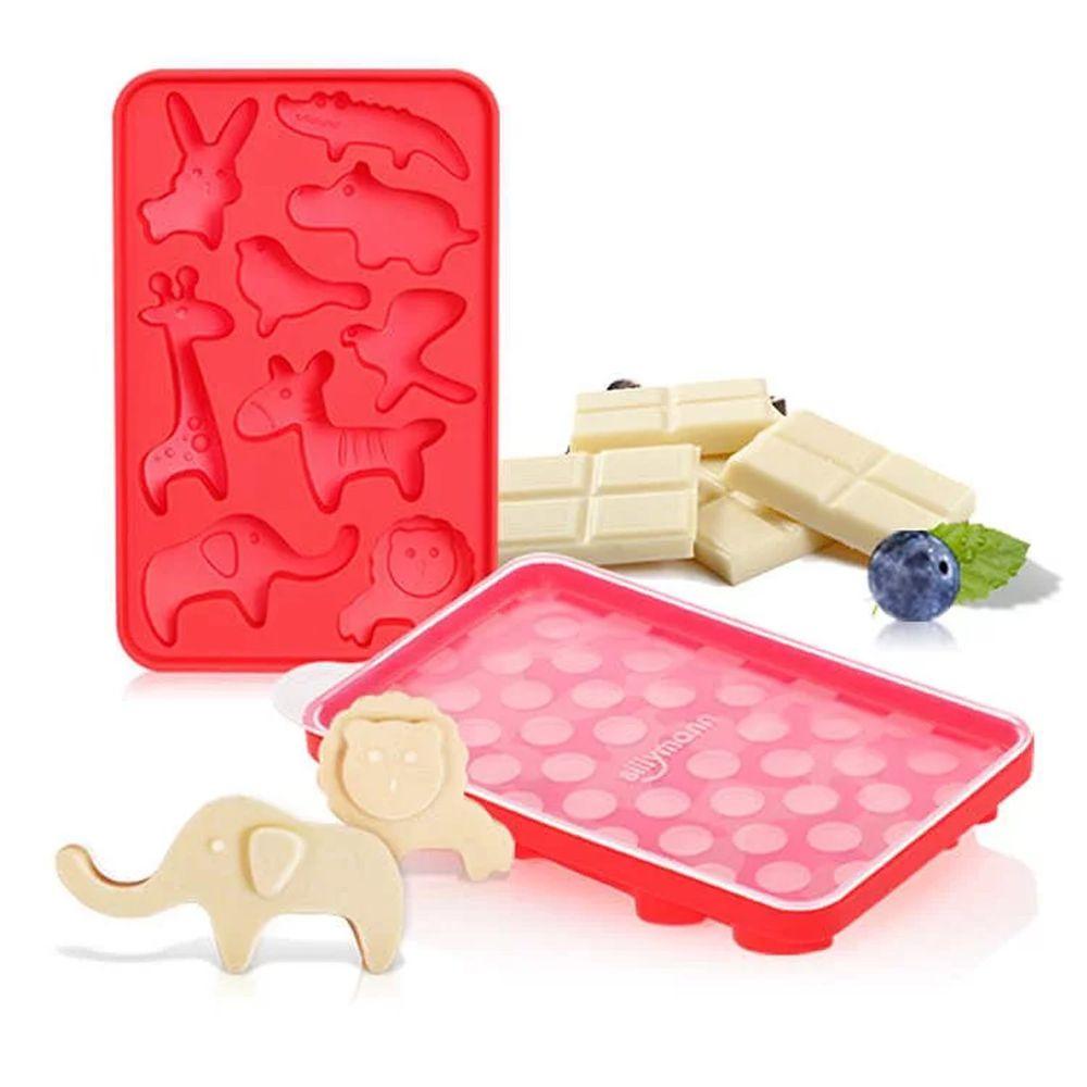 韓國 sillymann - 100%鉑金矽膠可愛動物分裝盒-紅