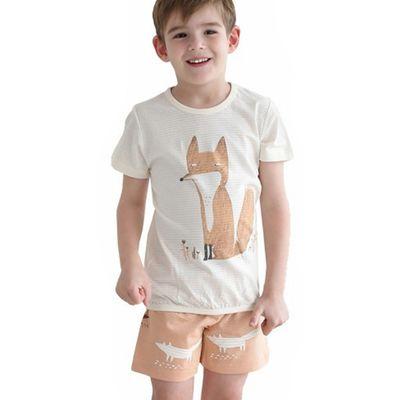 有機棉透氣短袖家居服-森林狐狸