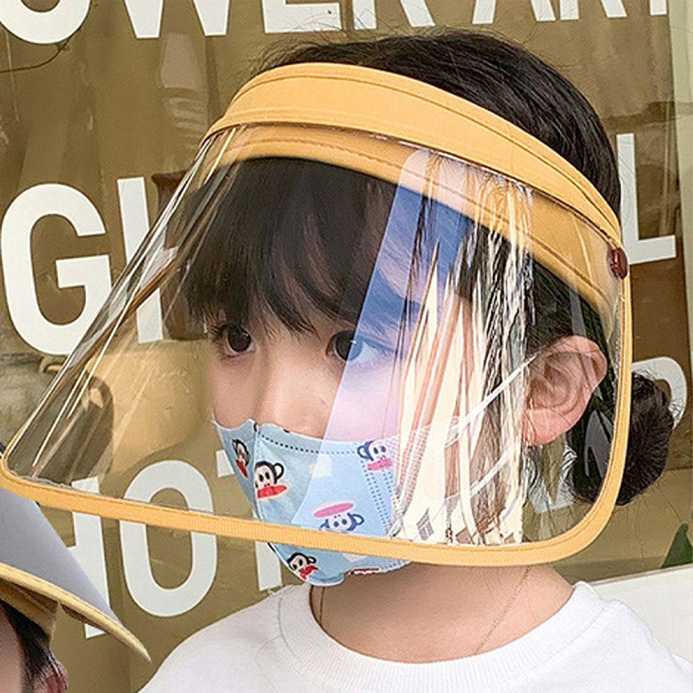 兒童可拆卸面罩防飛沫/遮陽防曬空頂帽-兩片式-黃色