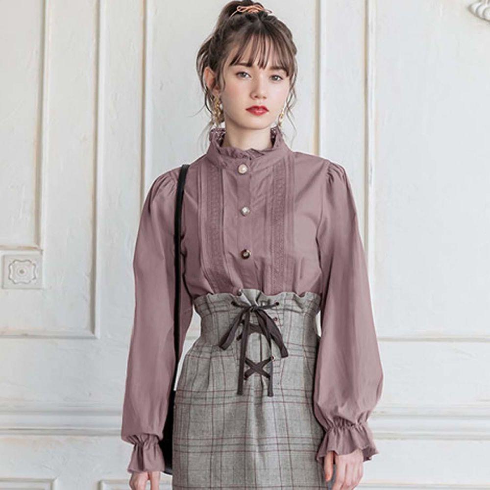 日本 GRL - 不規則扣華麗微雕花襯衫上衣-星塵粉