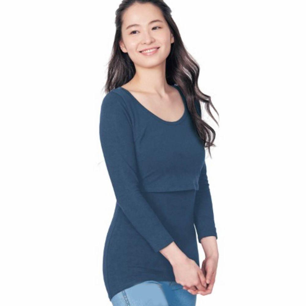 日本千趣會 - 95%棉 (孕哺)雙層設計哺乳發熱衣-深藍