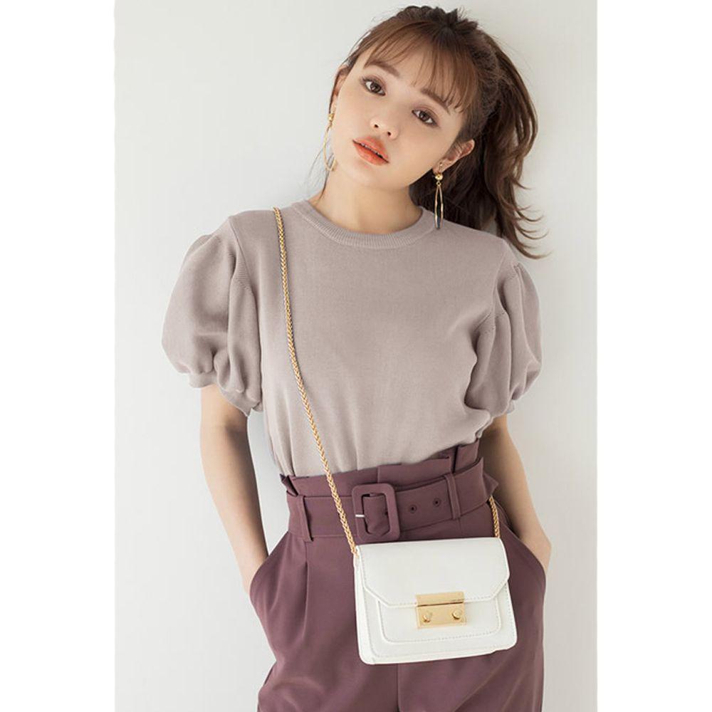 日本 GRL - 顯瘦澎澎袖針織圓領上衣-氣質杏 (M)