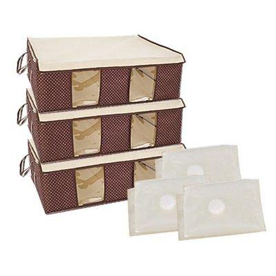 跨世代3D壓縮袋棉被衣物防塵防潮收納箱6件組-3D壓縮袋x3+65公升收納箱x3-棕梠咖