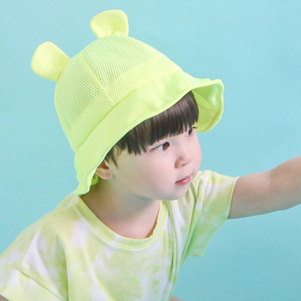 韓國 Babyblee - 小耳朵網格透氣遮陽帽-螢光黃 (頭圍:46-50cm)