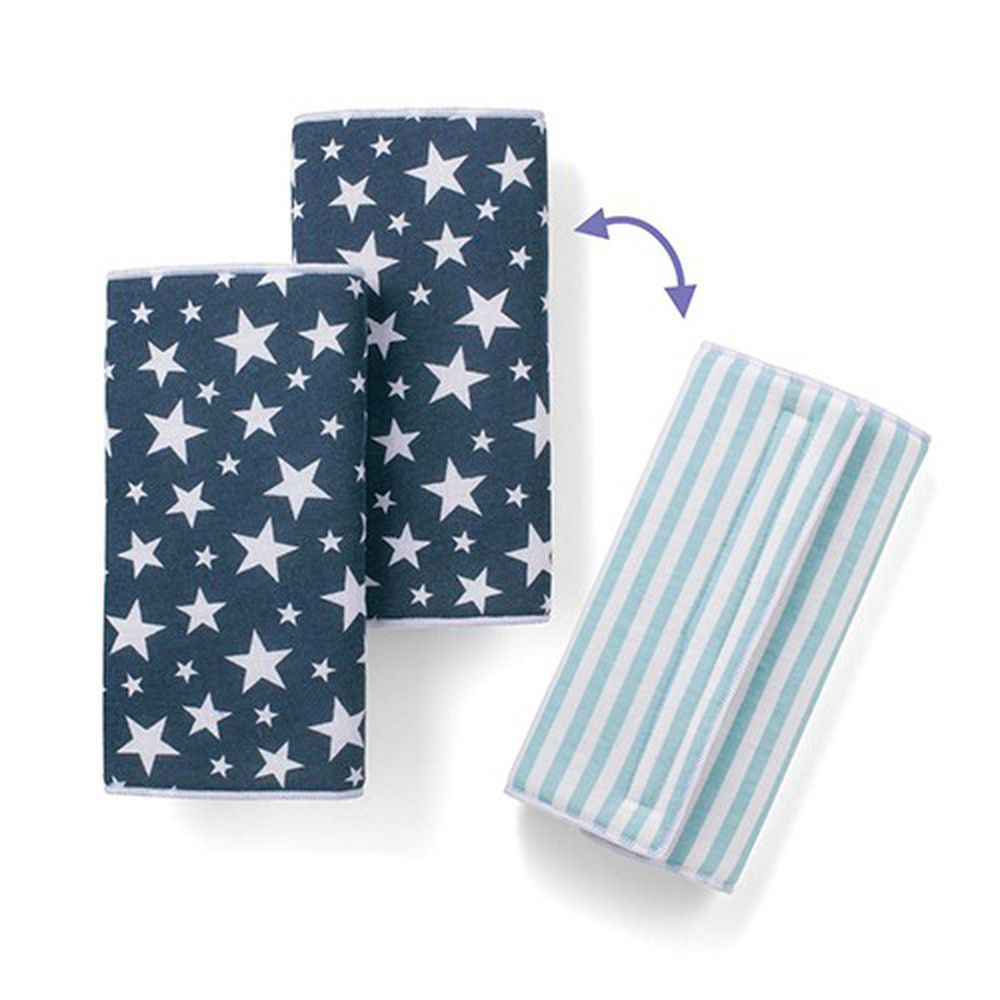 日本千趣會 - 雙面款口水巾-天藍條紋/海軍星星