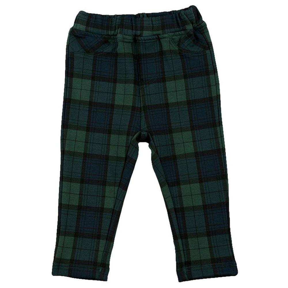 akachan honpo - 10分彈性緊身褲-花紋-綠色