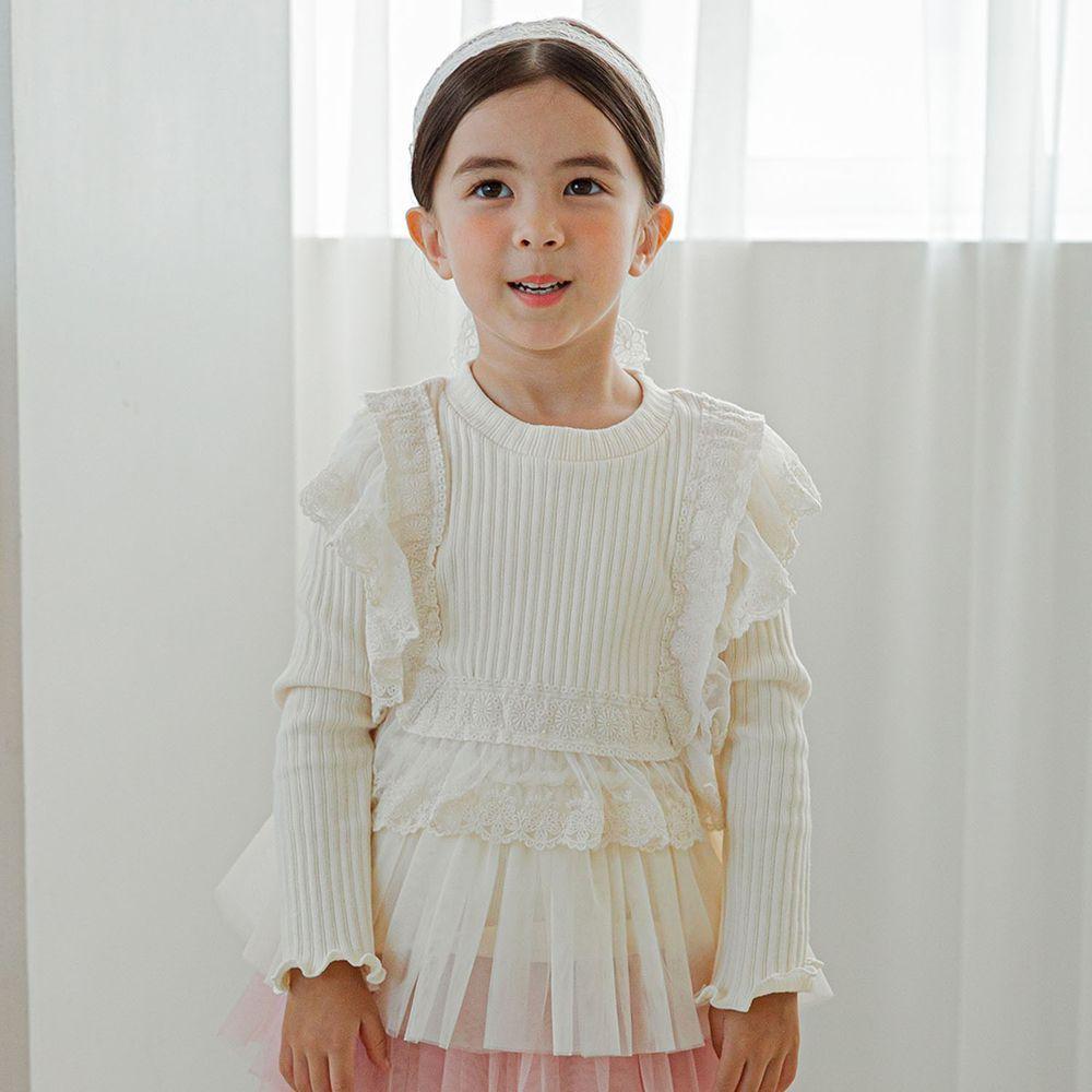 韓國 Mari an u - 荷葉蕾絲滾邊針織網紗拼接上衣-米白