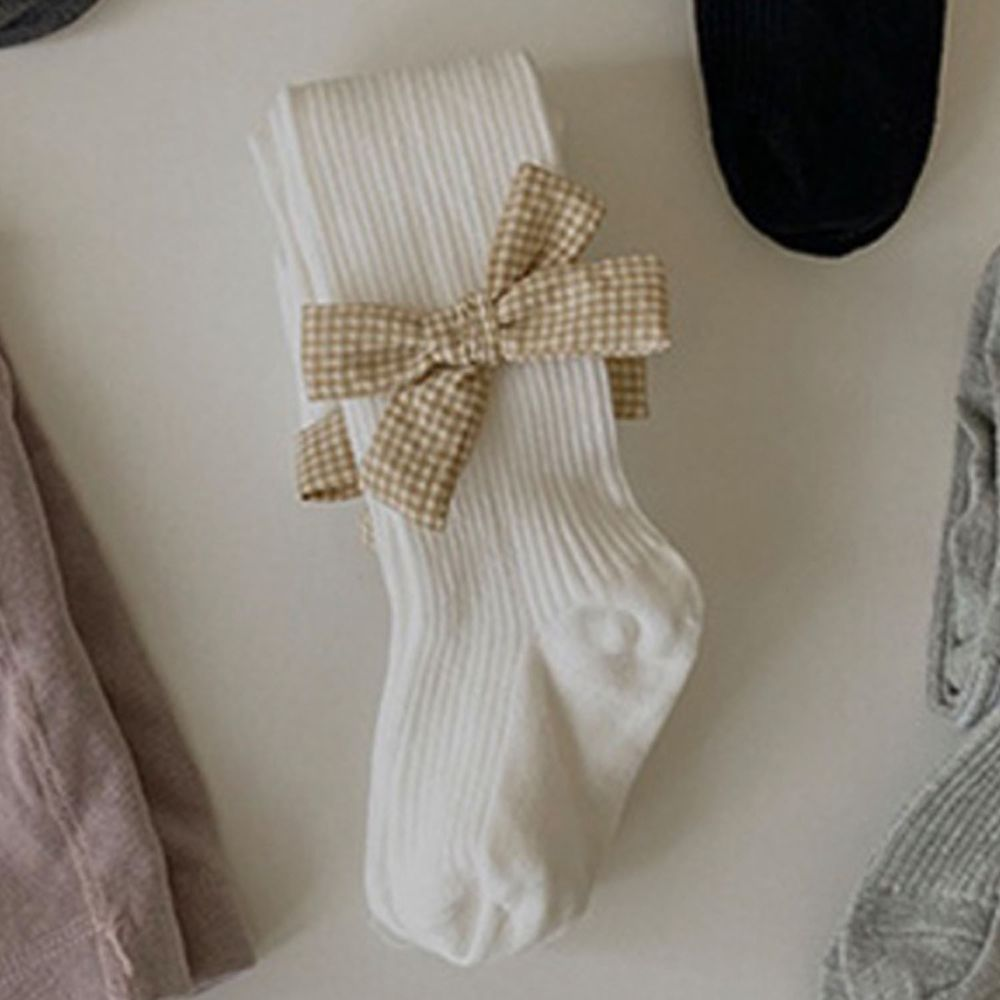 兒童蝴蝶結褲襪-米白
