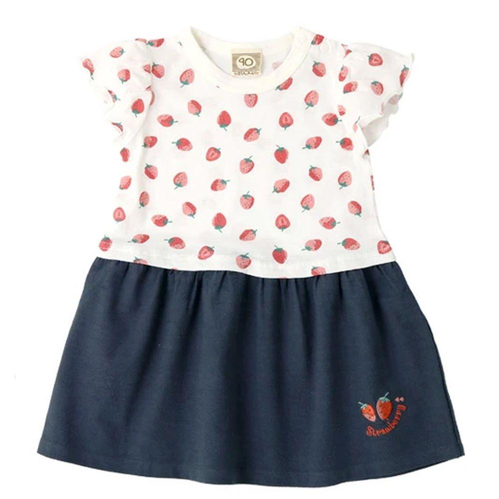 日本 ZOOLAND - 拼接短袖洋裝-滿版草莓-白X深藍