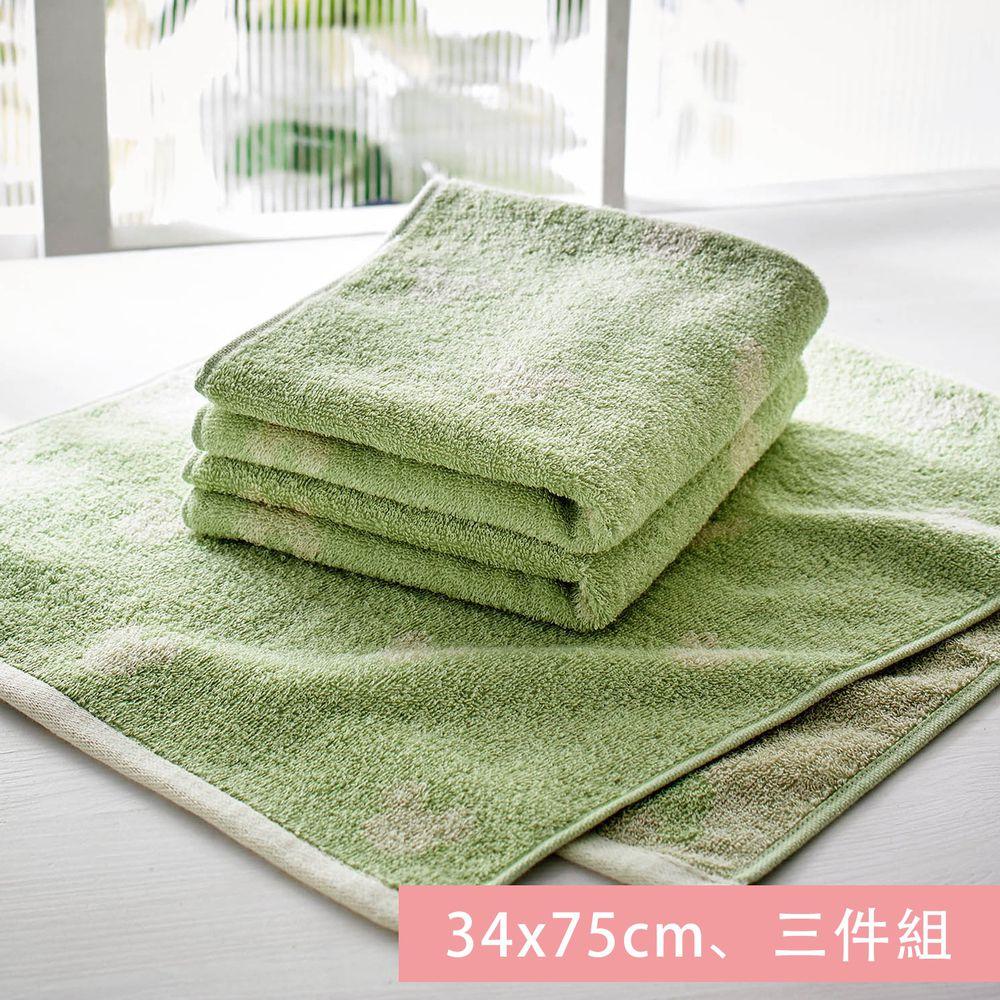 日本千趣會 - 迪士尼 純棉長毛巾三件組-米奇頭-綠 (34x75cm)