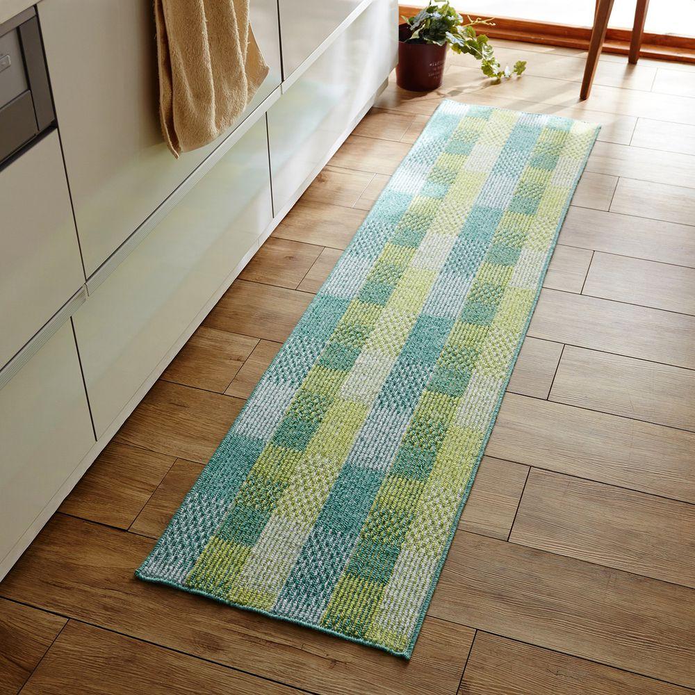 日本千趣會 - 日本製 輕薄編織舒適腳踏墊(廚房/臥室)-藍綠格紋 (45x180cm)